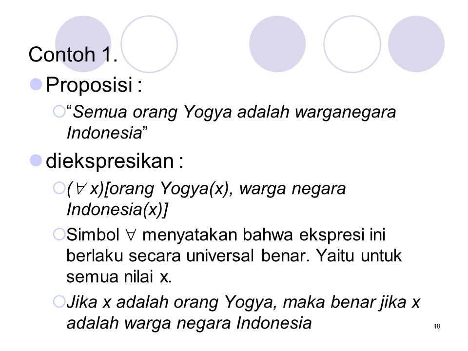 """18 Contoh 1. Proposisi :  """"Semua orang Yogya adalah warganegara Indonesia"""" diekspresikan :  (  x)[orang Yogya(x), warga negara Indonesia(x)]  Simb"""