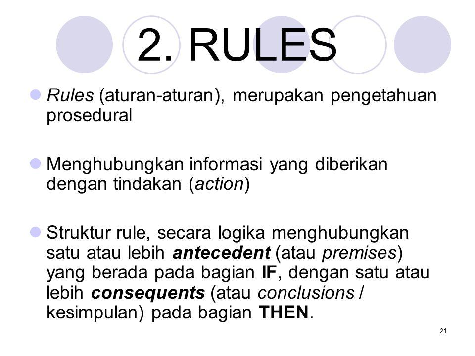 21 2. RULES Rules (aturan-aturan), merupakan pengetahuan prosedural Menghubungkan informasi yang diberikan dengan tindakan (action) Struktur rule, sec