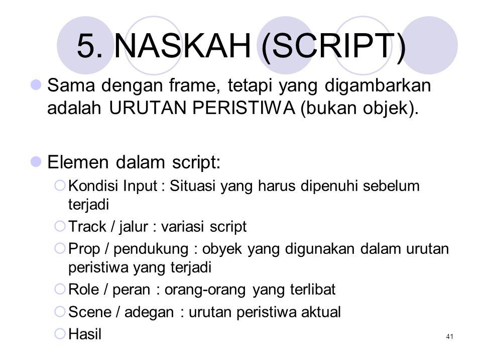 41 5. NASKAH (SCRIPT) Sama dengan frame, tetapi yang digambarkan adalah URUTAN PERISTIWA (bukan objek). Elemen dalam script:  Kondisi Input : Situasi