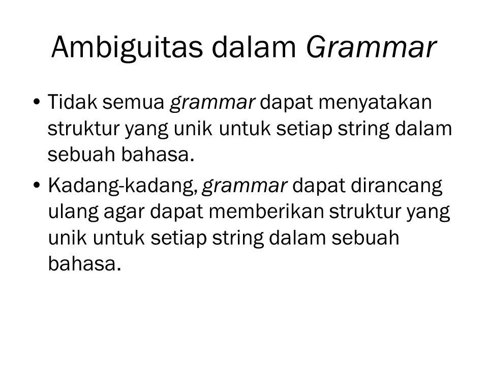 Ambiguitas dalam Grammar Tidak semua grammar dapat menyatakan struktur yang unik untuk setiap string dalam sebuah bahasa. Kadang-kadang, grammar dapat