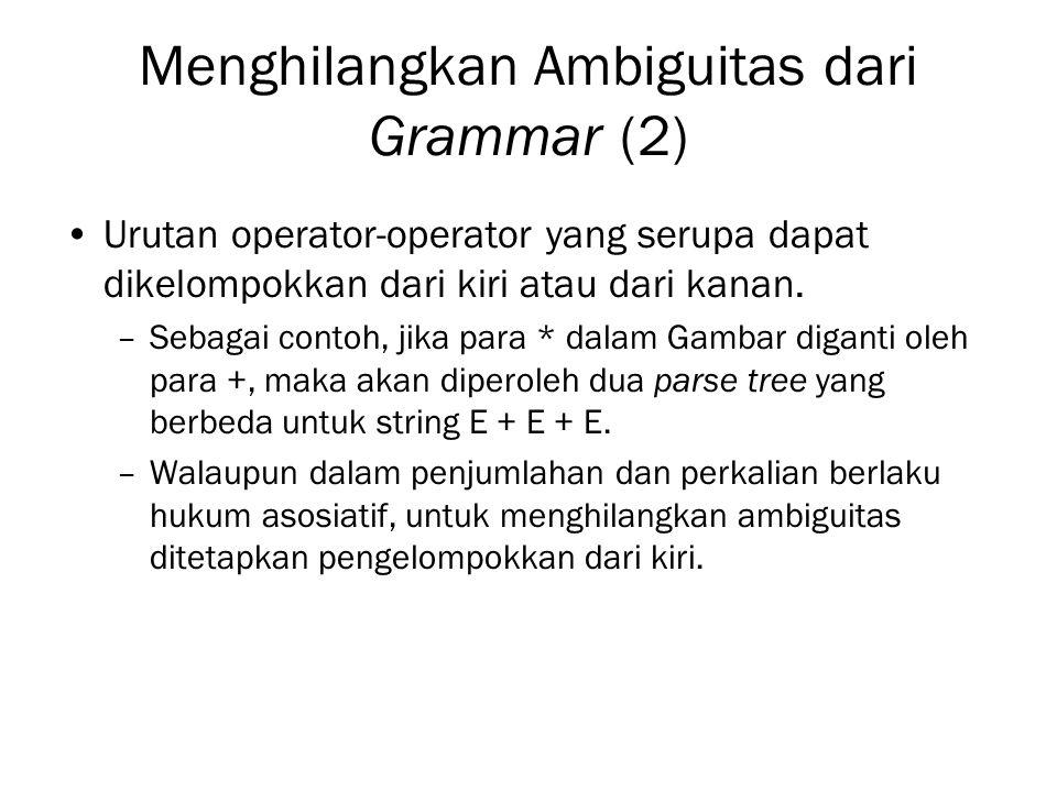 Menghilangkan Ambiguitas dari Grammar (2) Urutan operator-operator yang serupa dapat dikelompokkan dari kiri atau dari kanan. –Sebagai contoh, jika pa