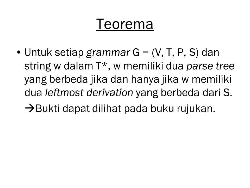 Teorema Untuk setiap grammar G = (V, T, P, S) dan string w dalam T*, w memiliki dua parse tree yang berbeda jika dan hanya jika w memiliki dua leftmos
