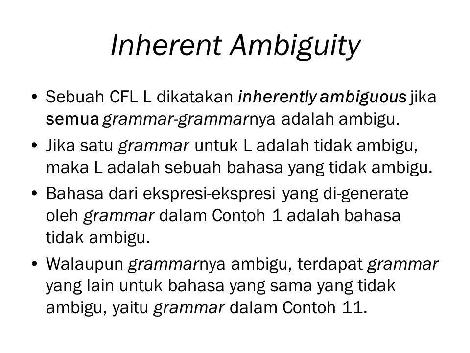 Inherent Ambiguity Sebuah CFL L dikatakan inherently ambiguous jika semua grammar-grammarnya adalah ambigu. Jika satu grammar untuk L adalah tidak amb