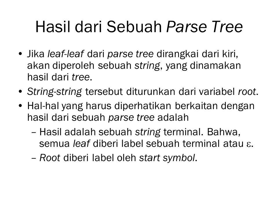 Hasil dari Sebuah Parse Tree Jika leaf-leaf dari parse tree dirangkai dari kiri, akan diperoleh sebuah string, yang dinamakan hasil dari tree. String-