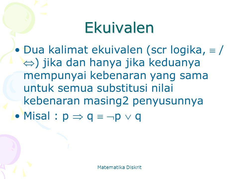Matematika Diskrit Ekuivalen Dua kalimat ekuivalen (scr logika,  / ) jika dan hanya jika keduanya mempunyai kebenaran yang sama untuk semua substitu