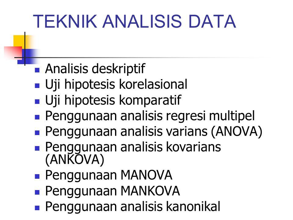 TEKNIK ANALISIS DATA Analisis deskriptif Uji hipotesis korelasional Uji hipotesis komparatif Penggunaan analisis regresi multipel Penggunaan analisis