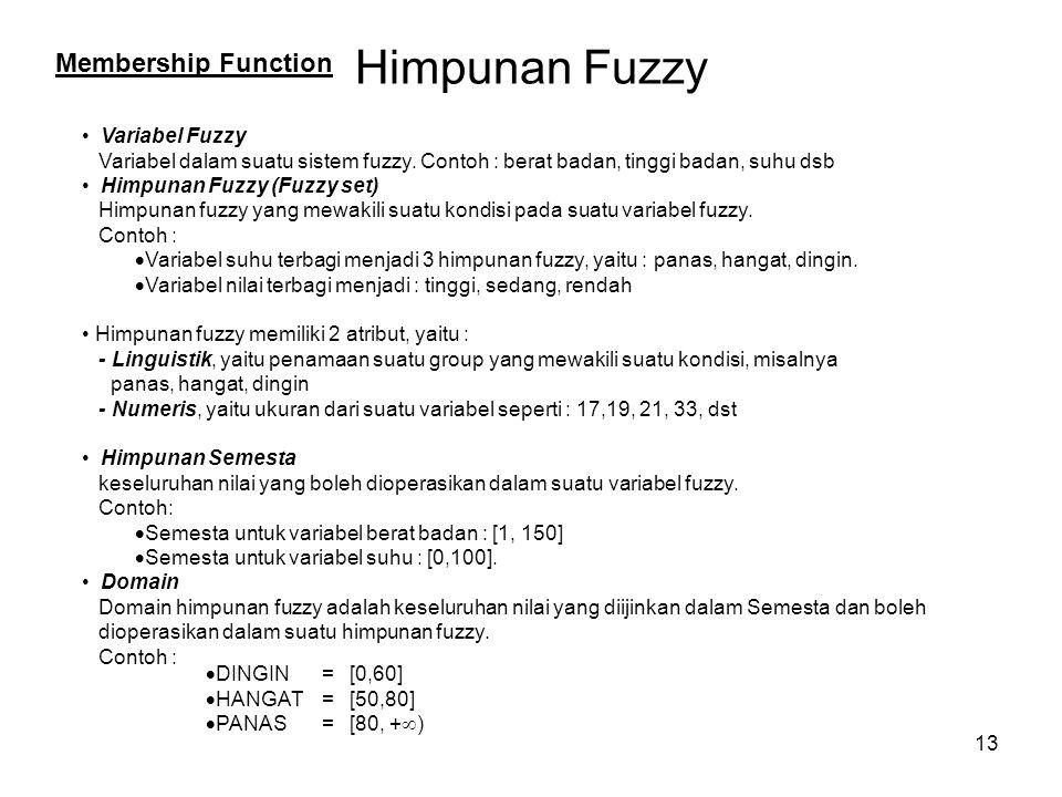 13 Himpunan Fuzzy Variabel Fuzzy Variabel dalam suatu sistem fuzzy. Contoh : berat badan, tinggi badan, suhu dsb Himpunan Fuzzy (Fuzzy set) Himpunan f