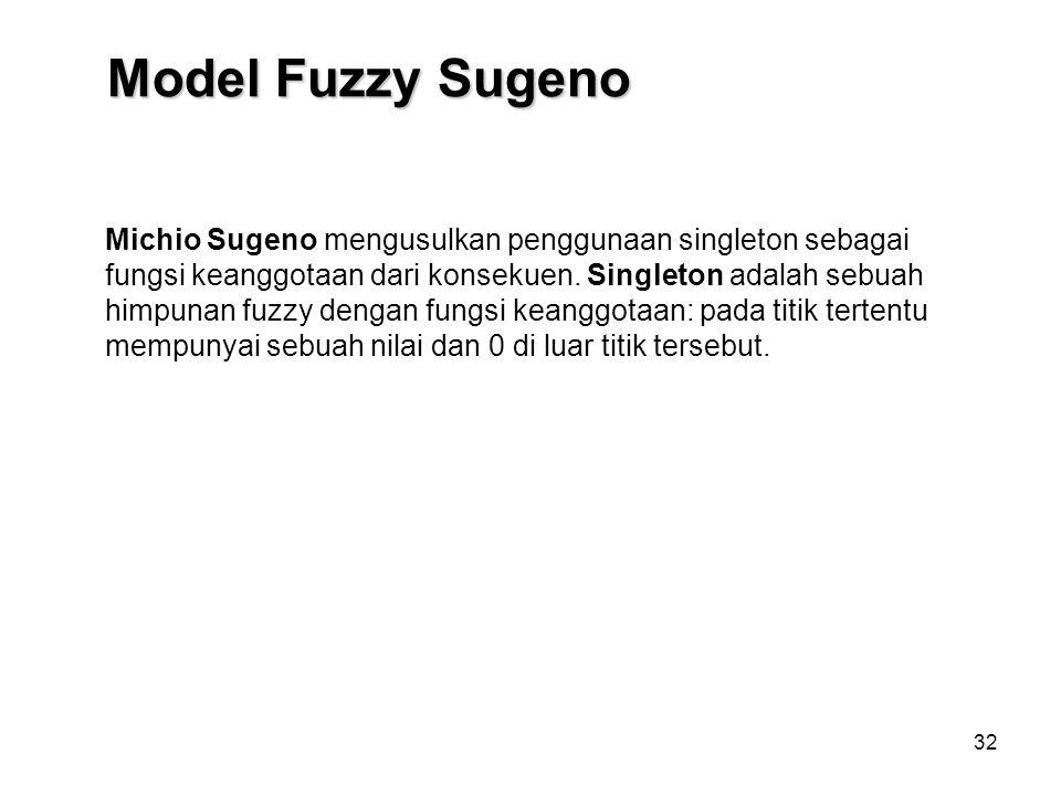 32 Michio Sugeno mengusulkan penggunaan singleton sebagai fungsi keanggotaan dari konsekuen. Singleton adalah sebuah himpunan fuzzy dengan fungsi kean