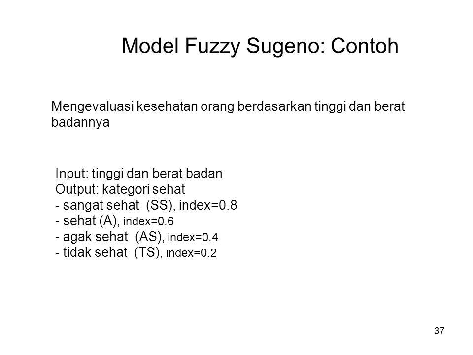 37 Model Fuzzy Sugeno: Contoh Mengevaluasi kesehatan orang berdasarkan tinggi dan berat badannya Input: tinggi dan berat badan Output: kategori sehat