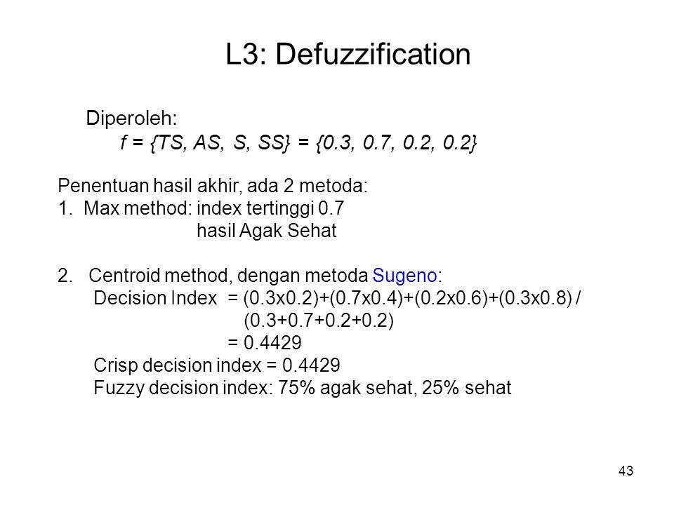 43 L3: Defuzzification Diperoleh: f = {TS, AS, S, SS} = {0.3, 0.7, 0.2, 0.2} Penentuan hasil akhir, ada 2 metoda: 1. Max method: index tertinggi 0.7 h