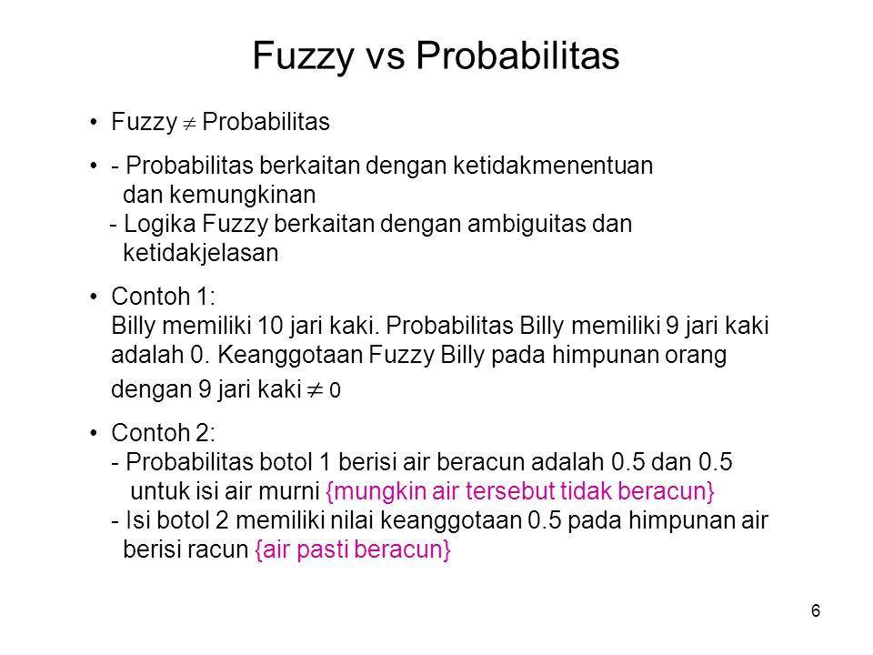 6 Fuzzy vs Probabilitas Fuzzy  Probabilitas - Probabilitas berkaitan dengan ketidakmenentuan dan kemungkinan - Logika Fuzzy berkaitan dengan ambiguit