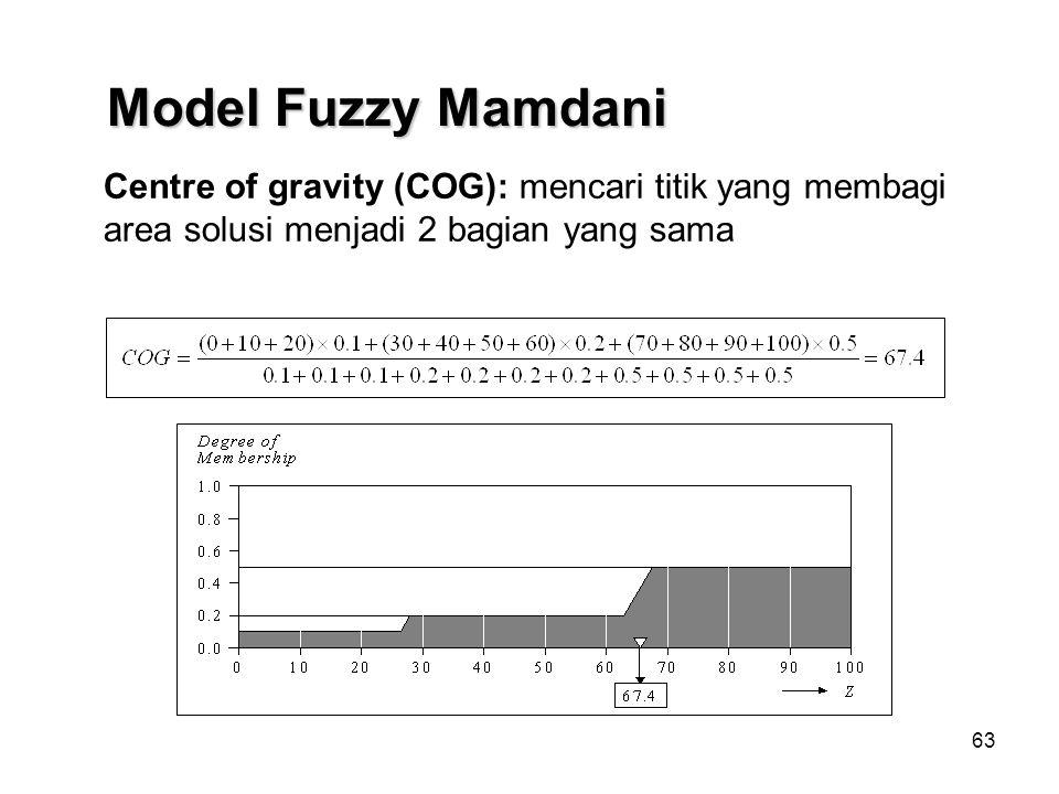63 Centre of gravity (COG): mencari titik yang membagi area solusi menjadi 2 bagian yang sama Model Fuzzy Mamdani