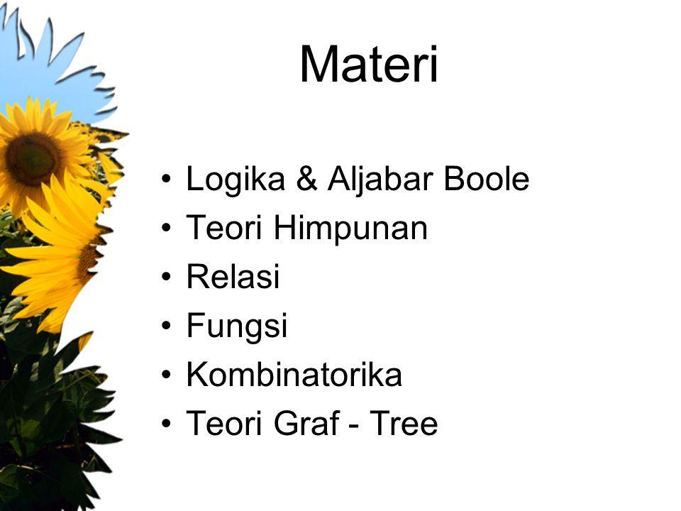 Materi Logika & Aljabar Boole Teori Himpunan Relasi Fungsi Kombinatorika Teori Graf - Tree
