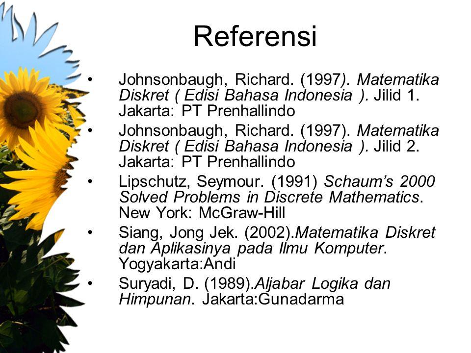 Referensi Johnsonbaugh, Richard. (1997). Matematika Diskret ( Edisi Bahasa Indonesia ). Jilid 1. Jakarta: PT Prenhallindo Johnsonbaugh, Richard. (1997