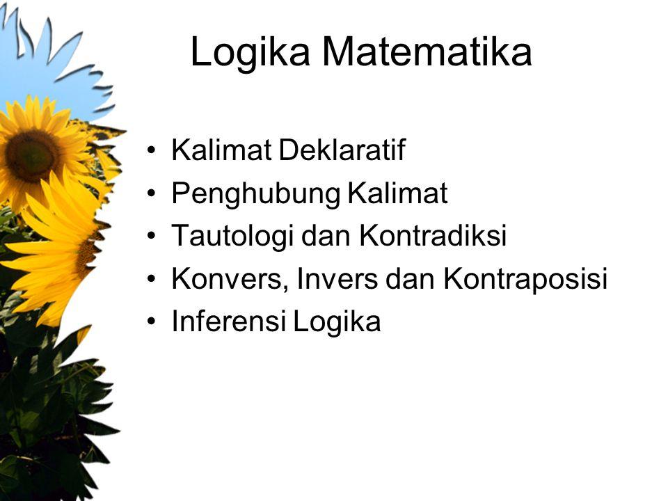 Logika Matematika Kalimat Deklaratif Penghubung Kalimat Tautologi dan Kontradiksi Konvers, Invers dan Kontraposisi Inferensi Logika