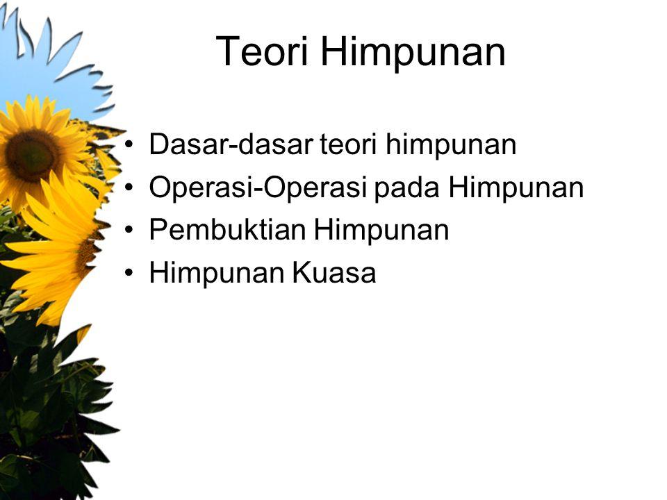 Teori Himpunan Dasar-dasar teori himpunan Operasi-Operasi pada Himpunan Pembuktian Himpunan Himpunan Kuasa