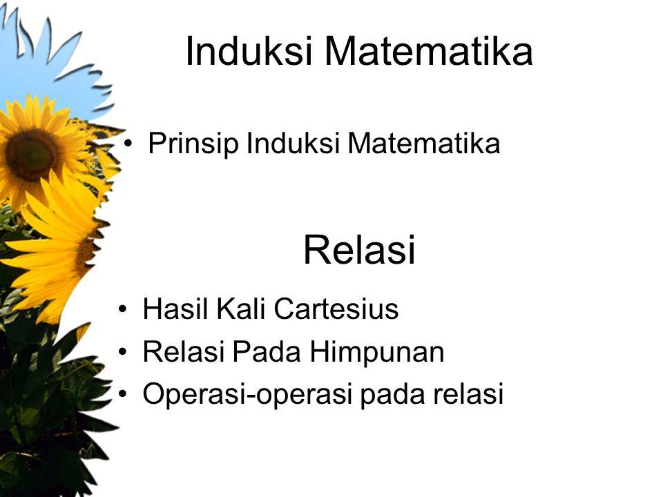 Induksi Matematika Prinsip Induksi Matematika Relasi Hasil Kali Cartesius Relasi Pada Himpunan Operasi-operasi pada relasi