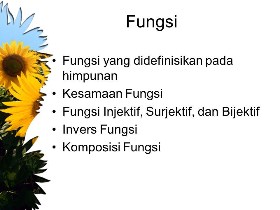 Fungsi Fungsi yang didefinisikan pada himpunan Kesamaan Fungsi Fungsi Injektif, Surjektif, dan Bijektif Invers Fungsi Komposisi Fungsi