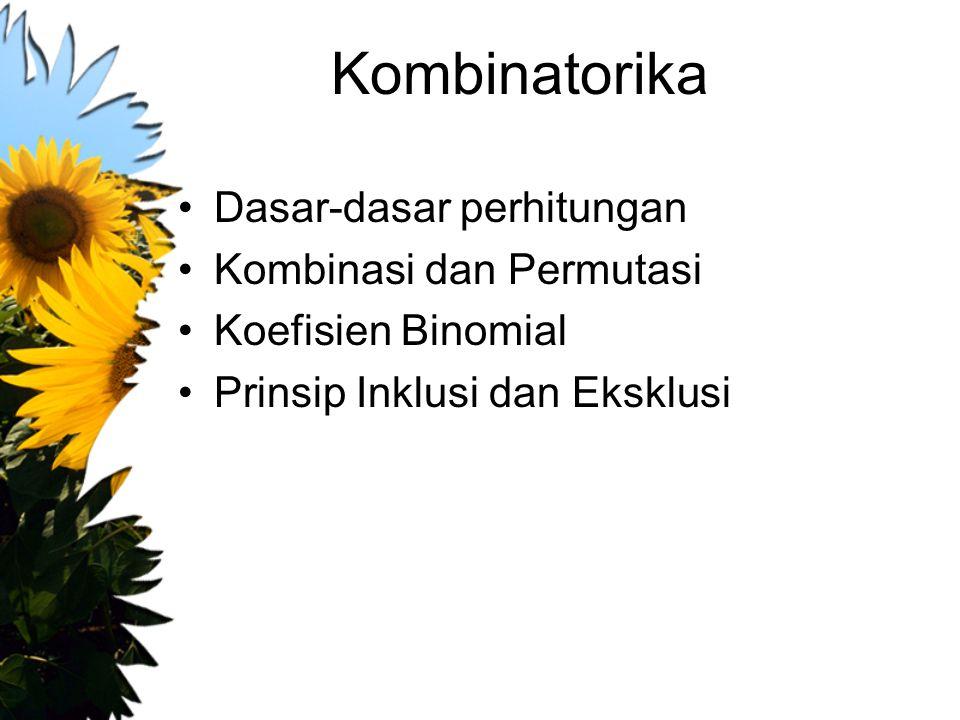Kombinatorika Dasar-dasar perhitungan Kombinasi dan Permutasi Koefisien Binomial Prinsip Inklusi dan Eksklusi