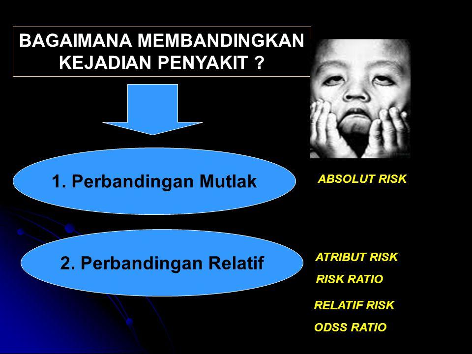 BAGAIMANA MEMBANDINGKAN KEJADIAN PENYAKIT ? 1. Perbandingan Mutlak 2. Perbandingan Relatif ABSOLUT RISK ATRIBUT RISK RISK RATIO RELATIF RISK ODSS RATI