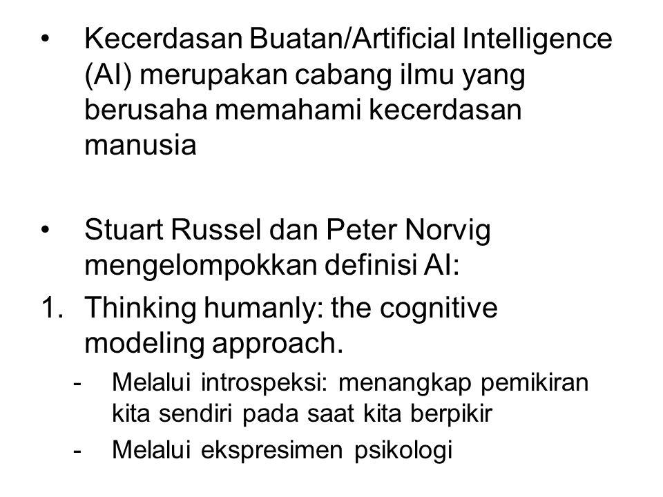 Kecerdasan Buatan/Artificial Intelligence (AI) merupakan cabang ilmu yang berusaha memahami kecerdasan manusia Stuart Russel dan Peter Norvig mengelom