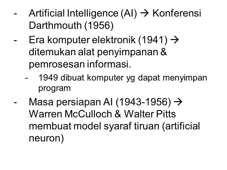 -Artificial Intelligence (AI)  Konferensi Darthmouth (1956) -Era komputer elektronik (1941)  ditemukan alat penyimpanan & pemrosesan informasi. -194