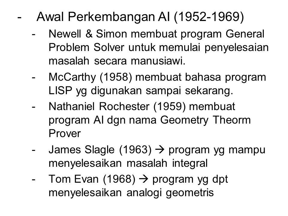 -Awal Perkembangan AI (1952-1969) -Newell & Simon membuat program General Problem Solver untuk memulai penyelesaian masalah secara manusiawi. -McCarth