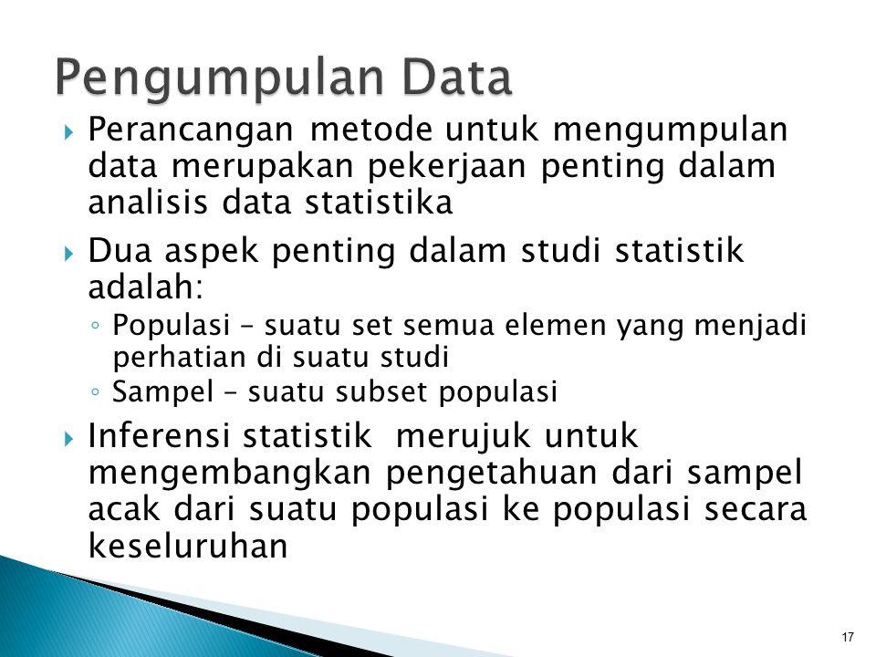  Perancangan metode untuk mengumpulan data merupakan pekerjaan penting dalam analisis data statistika  Dua aspek penting dalam studi statistik adala