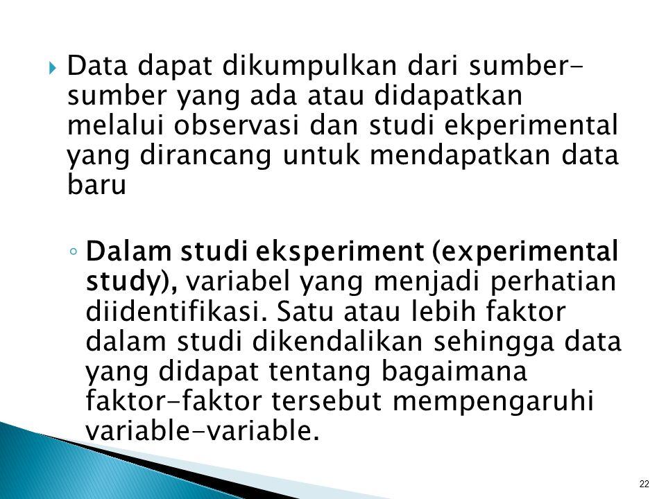  Data dapat dikumpulkan dari sumber- sumber yang ada atau didapatkan melalui observasi dan studi ekperimental yang dirancang untuk mendapatkan data b