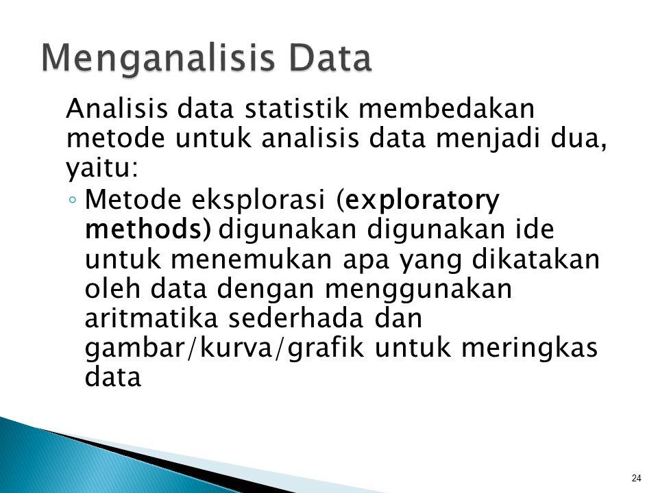 Analisis data statistik membedakan metode untuk analisis data menjadi dua, yaitu: ◦ Metode eksplorasi (exploratory methods) digunakan digunakan ide un