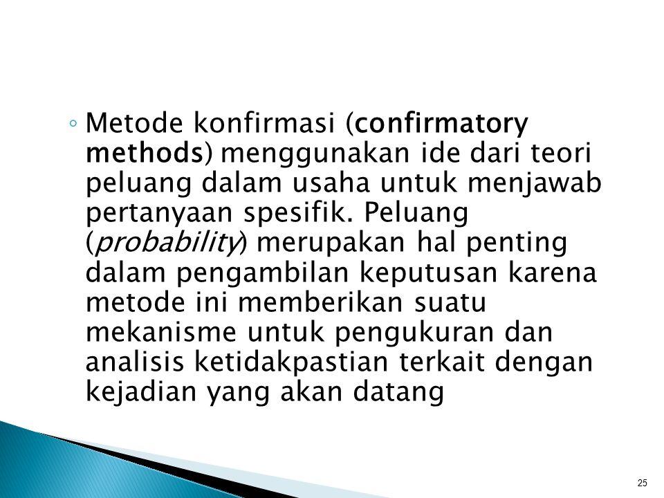 ◦ Metode konfirmasi (confirmatory methods) menggunakan ide dari teori peluang dalam usaha untuk menjawab pertanyaan spesifik. Peluang (probability) me