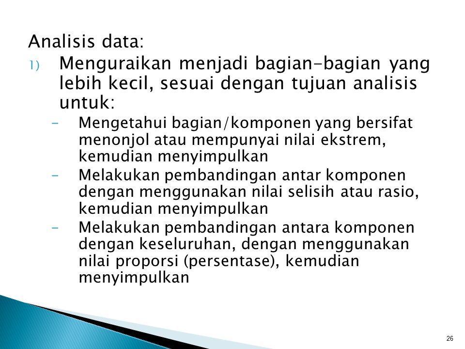 Analisis data: 1) Menguraikan menjadi bagian-bagian yang lebih kecil, sesuai dengan tujuan analisis untuk: –Mengetahui bagian/komponen yang bersifat m