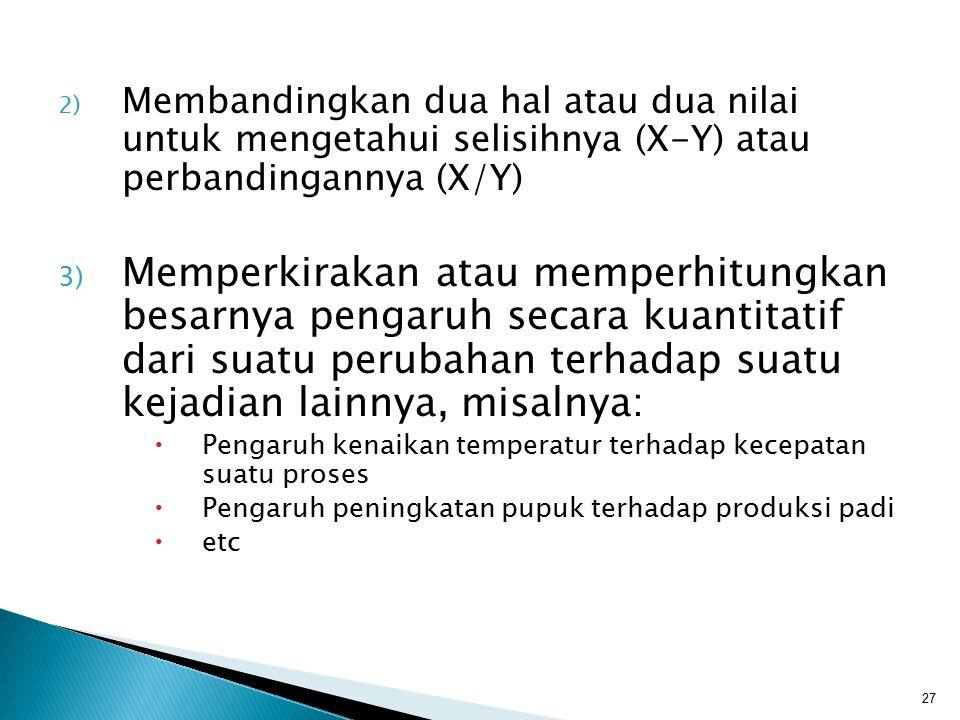 2) Membandingkan dua hal atau dua nilai untuk mengetahui selisihnya (X-Y) atau perbandingannya (X/Y) 3) Memperkirakan atau memperhitungkan besarnya pe