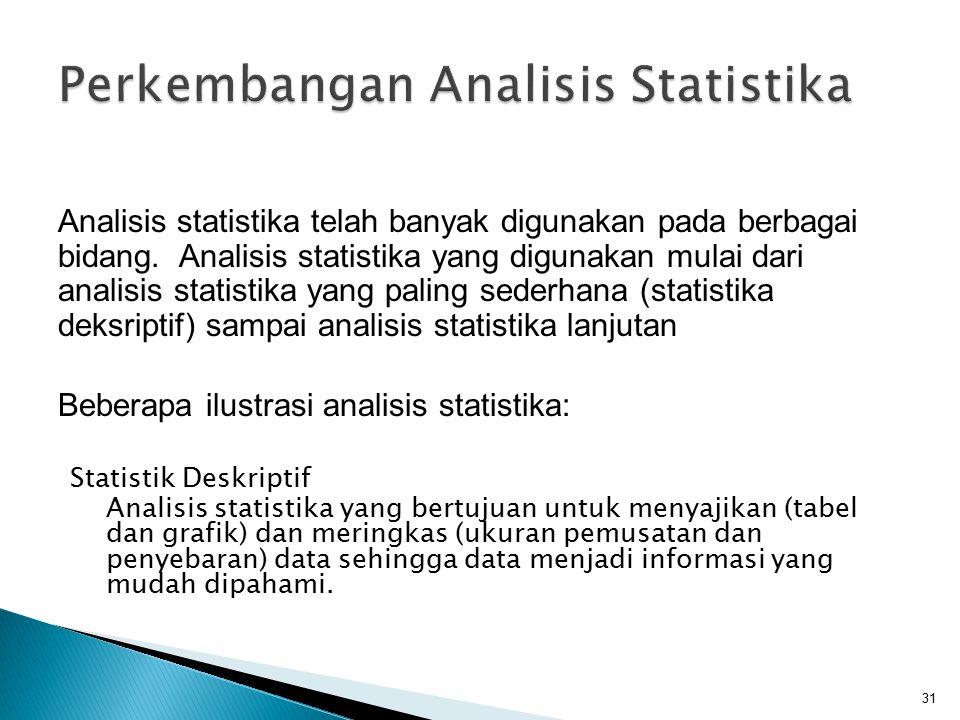 Statistik Deskriptif Analisis statistika yang bertujuan untuk menyajikan (tabel dan grafik) dan meringkas (ukuran pemusatan dan penyebaran) data sehin