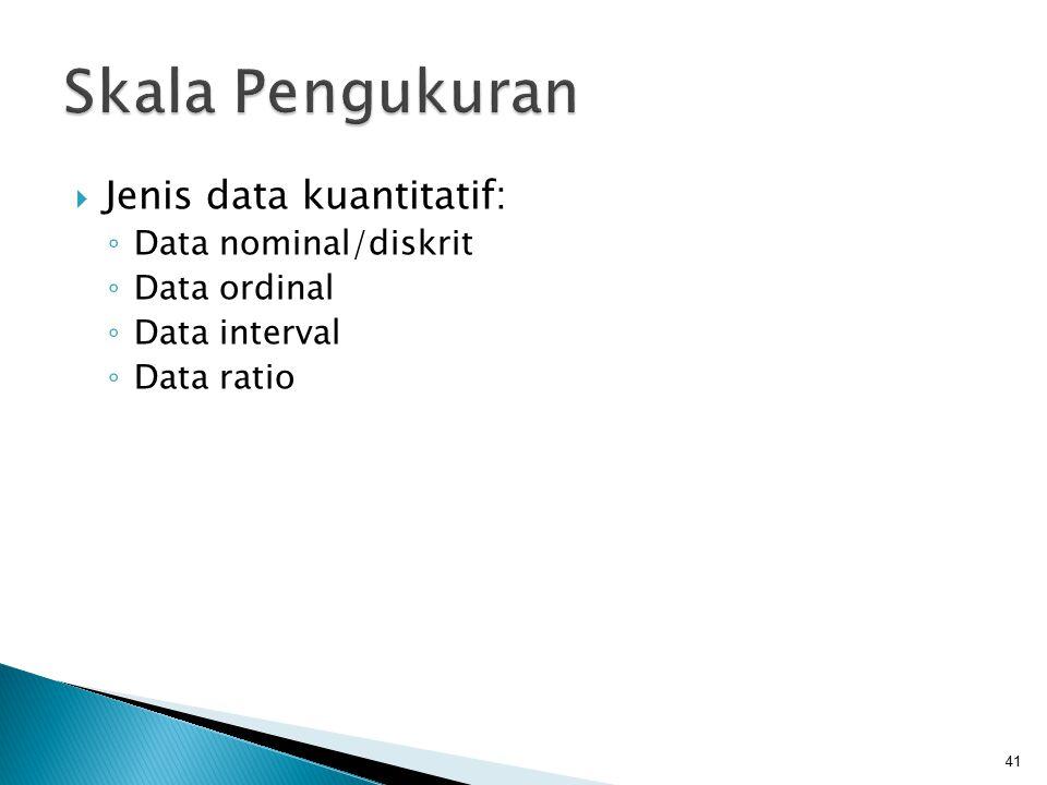 41  Jenis data kuantitatif: ◦ Data nominal/diskrit ◦ Data ordinal ◦ Data interval ◦ Data ratio