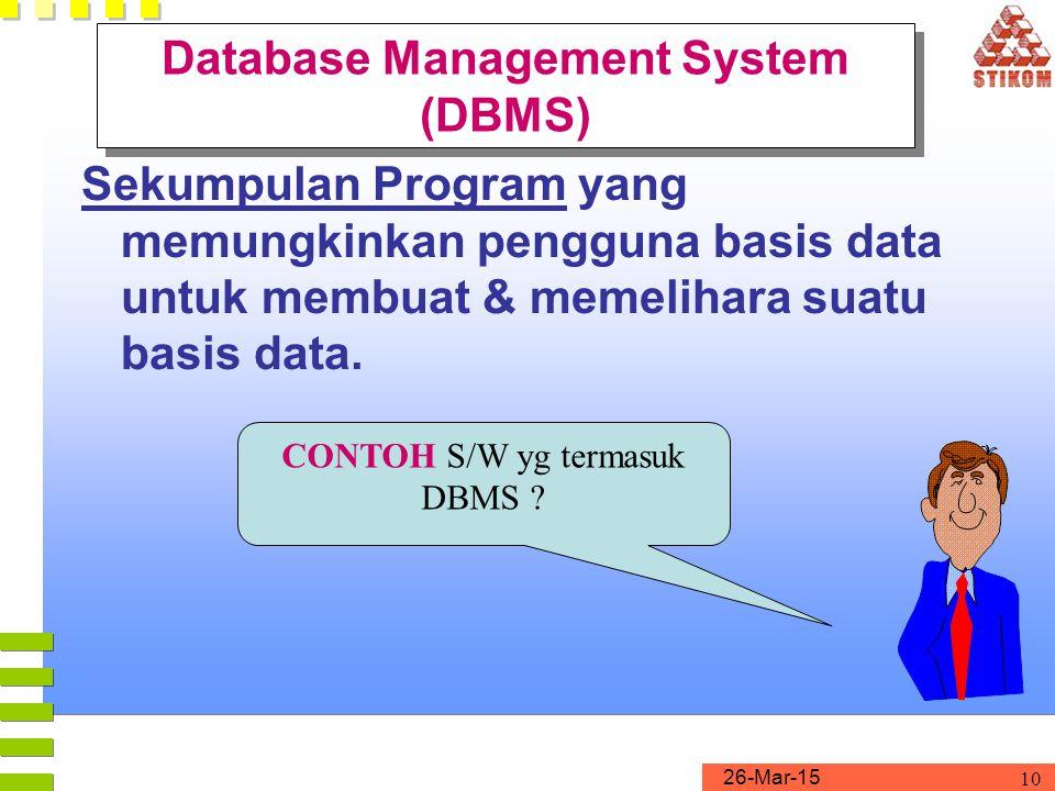 26-Mar-15 10 Database Management System (DBMS) Sekumpulan Program yang memungkinkan pengguna basis data untuk membuat & memelihara suatu basis data. C