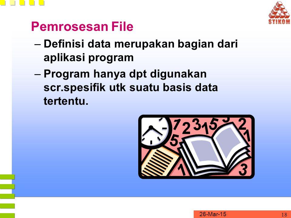 26-Mar-15 18 Pemrosesan File –Definisi data merupakan bagian dari aplikasi program –Program hanya dpt digunakan scr.spesifik utk suatu basis data tert