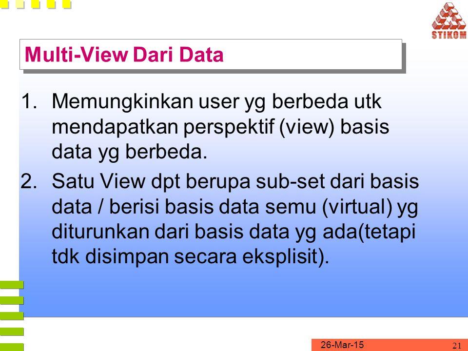 26-Mar-15 21 Multi-View Dari Data 1.Memungkinkan user yg berbeda utk mendapatkan perspektif (view) basis data yg berbeda. 2.Satu View dpt berupa sub-s