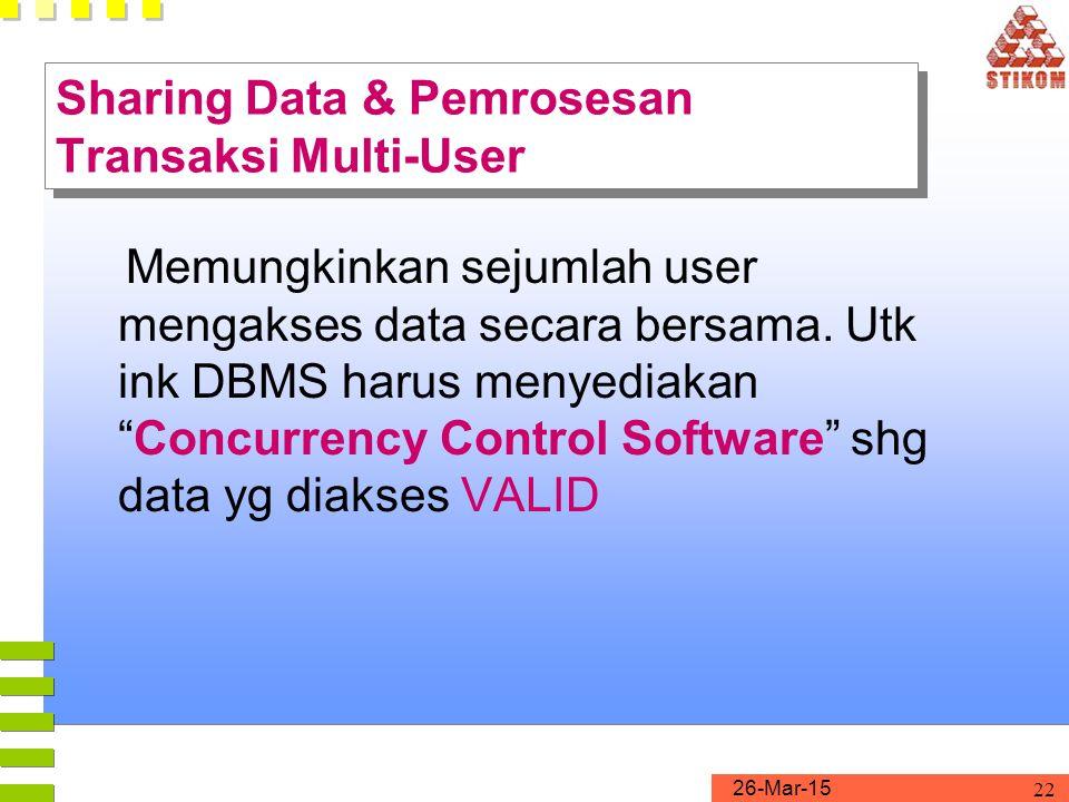 """26-Mar-15 22 Sharing Data & Pemrosesan Transaksi Multi-User Memungkinkan sejumlah user mengakses data secara bersama. Utk ink DBMS harus menyediakan """""""