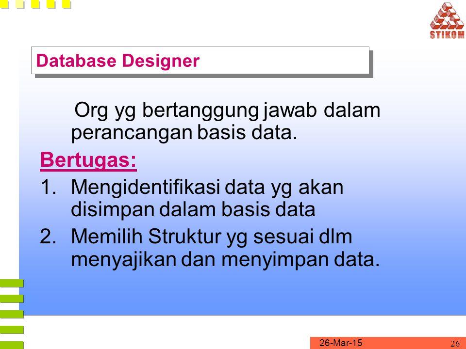 26-Mar-15 26 Database Designer Org yg bertanggung jawab dalam perancangan basis data. Bertugas: 1.Mengidentifikasi data yg akan disimpan dalam basis d