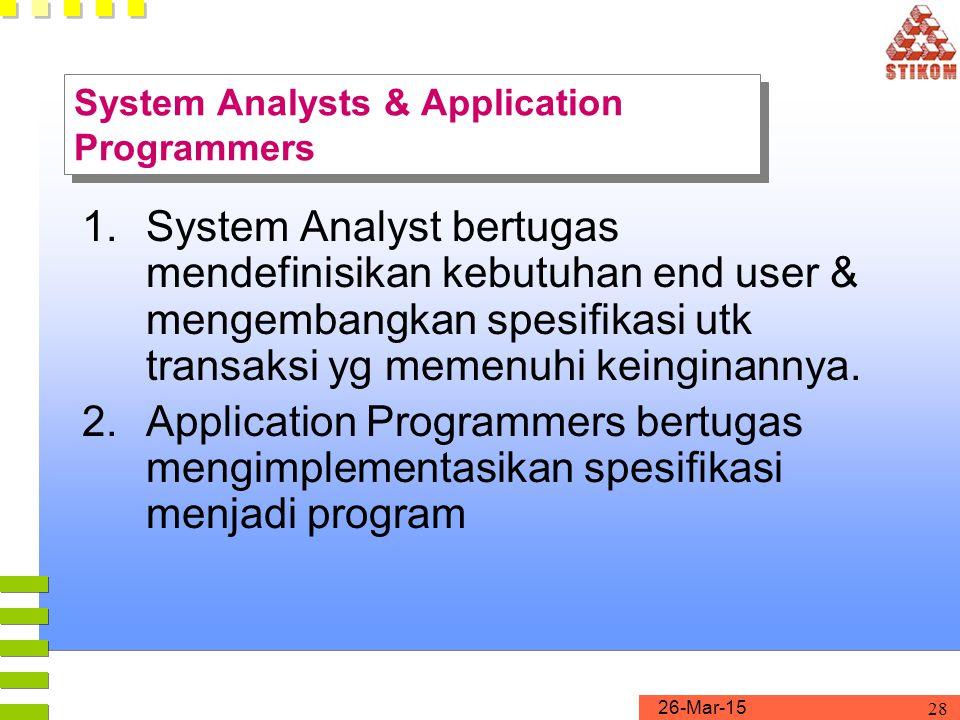 26-Mar-15 29 1.DBMS Designers & Implementers Orang yg merancang dan mengimplementasikan modul DBMS dan interfacenya sebagai satu paket software 2.Tool Developers Orang yg mengembangkan paket software yg memberikan fasilitas dlm perancangan & penggunakaan sistem basis data (contoh: Simulation, prototyping, dsbnya.) 3.Operators & Maintenance Personnel Orang-orang dibelakang Layar