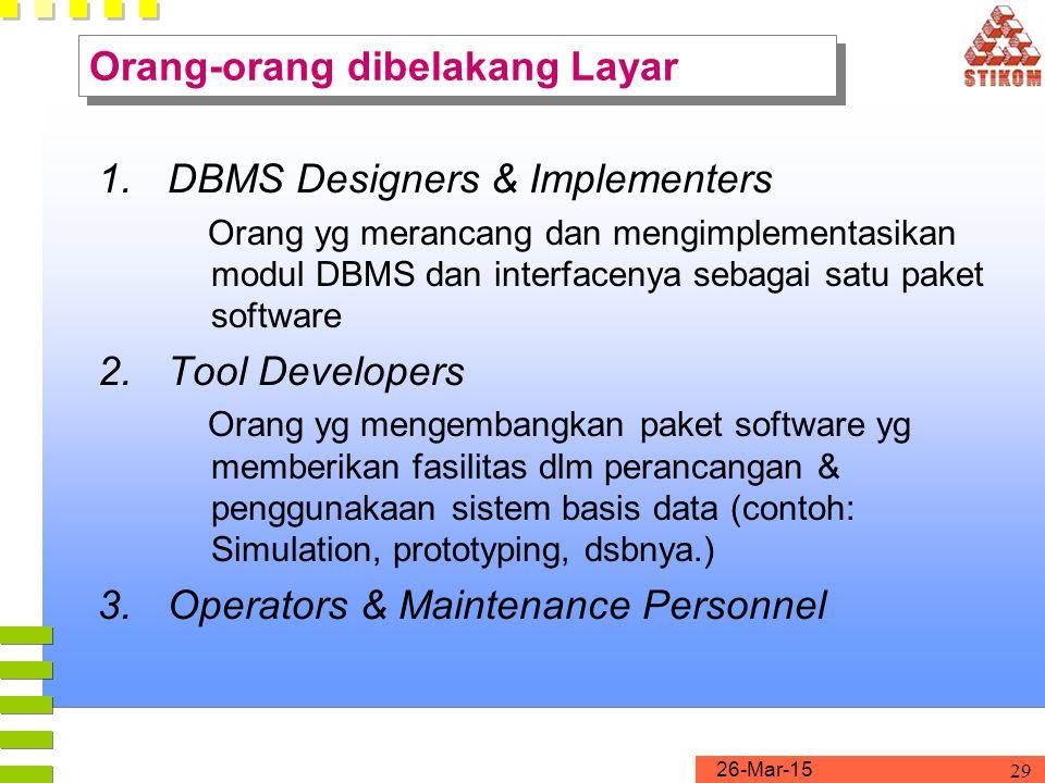26-Mar-15 29 1.DBMS Designers & Implementers Orang yg merancang dan mengimplementasikan modul DBMS dan interfacenya sebagai satu paket software 2.Tool