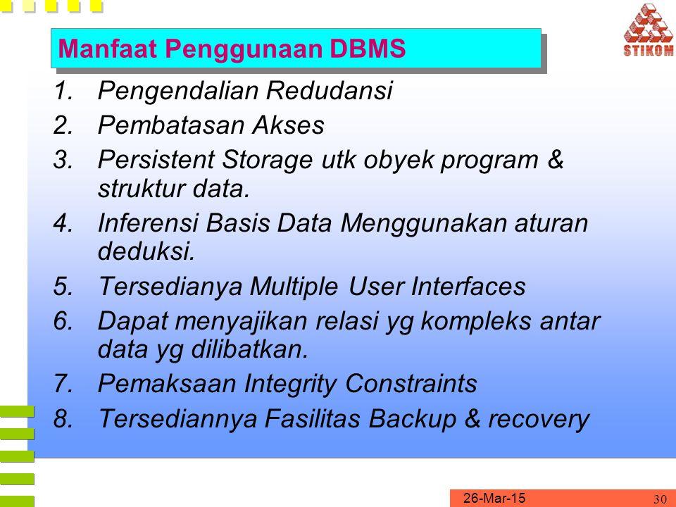 26-Mar-15 30 1.Pengendalian Redudansi 2.Pembatasan Akses 3.Persistent Storage utk obyek program & struktur data. 4.Inferensi Basis Data Menggunakan at