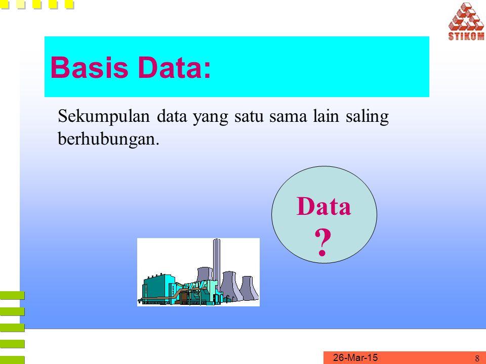 26-Mar-15 8 Data ? Sekumpulan data yang satu sama lain saling berhubungan. Basis Data: