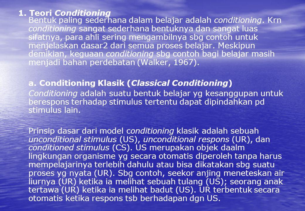 1. Teori Conditioning Bentuk paling sederhana dalam belajar adalah conditioning. Krn conditioning sangat sederhana bentuknya dan sangat luas sifatnya,