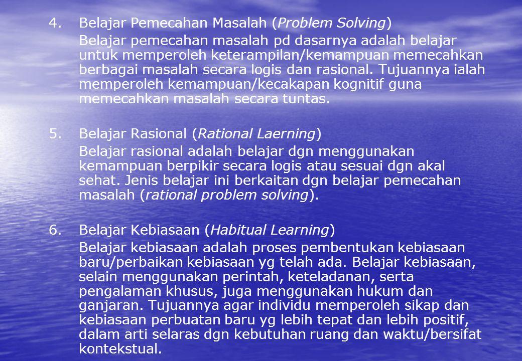 4. Belajar Pemecahan Masalah (Problem Solving) Belajar pemecahan masalah pd dasarnya adalah belajar untuk memperoleh keterampilan/kemampuan memecahkan