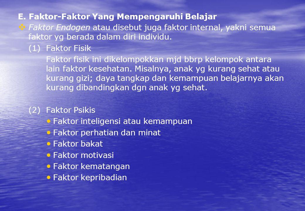 E. Faktor-Faktor Yang Mempengaruhi Belajar   Faktor Endogen atau disebut juga faktor internal, yakni semua faktor yg berada dalam diri individu. (1)
