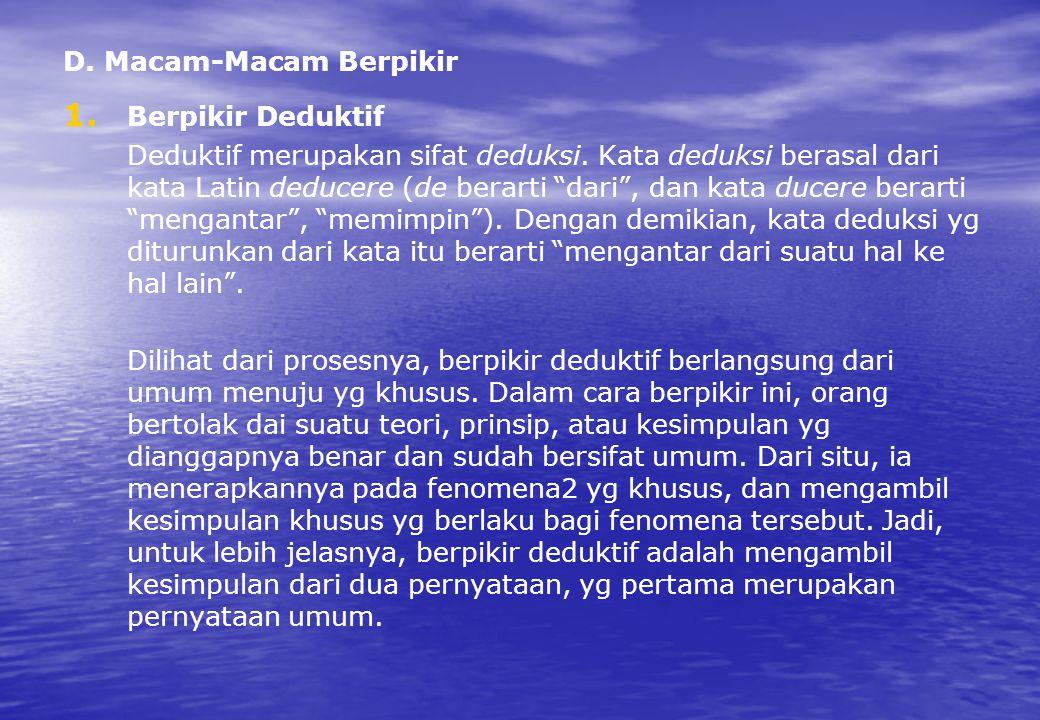 """D. Macam-Macam Berpikir 1. 1. Berpikir Deduktif Deduktif merupakan sifat deduksi. Kata deduksi berasal dari kata Latin deducere (de berarti """"dari"""", da"""