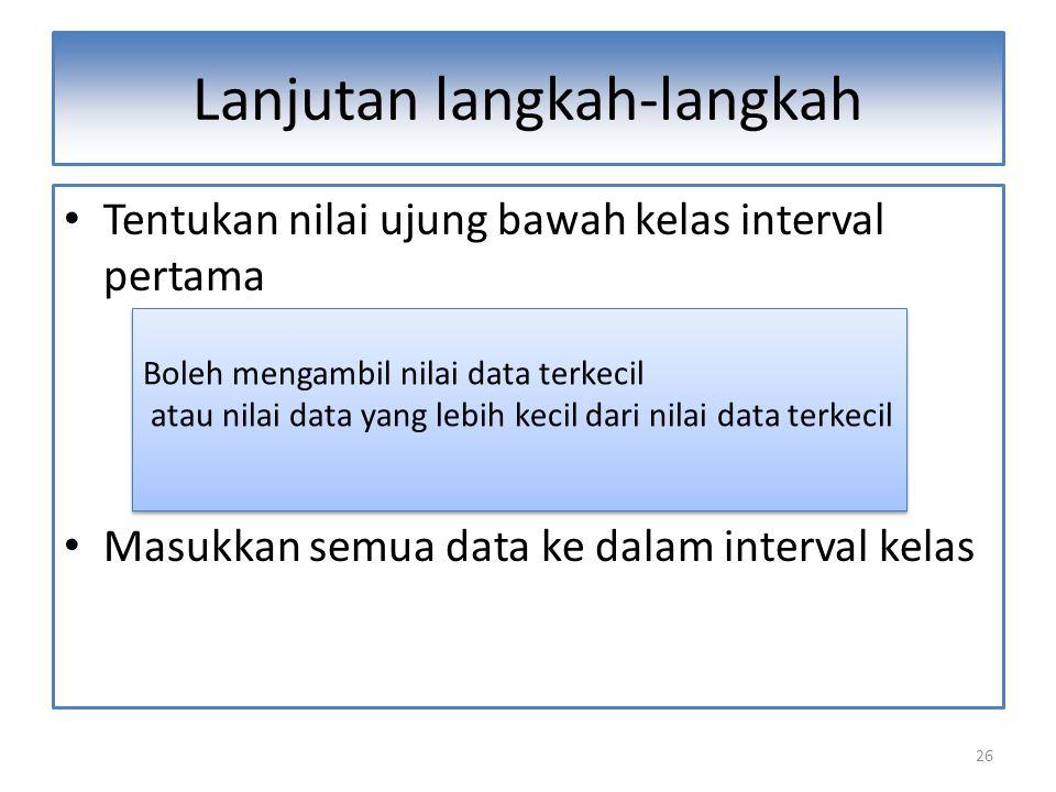 26 Lanjutan langkah-langkah Tentukan nilai ujung bawah kelas interval pertama Masukkan semua data ke dalam interval kelas Boleh mengambil nilai data terkecil atau nilai data yang lebih kecil dari nilai data terkecil Boleh mengambil nilai data terkecil atau nilai data yang lebih kecil dari nilai data terkecil
