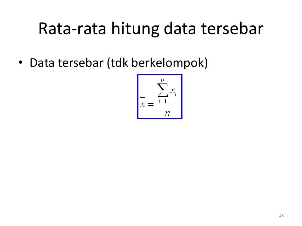 45 Rata-rata hitung data tersebar Data tersebar (tdk berkelompok)